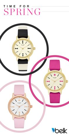 Add a sophisticated yet adorable pop of color to any spring wardrobe with a kate spade new york® Crosby watch. Choose from soft pink, bright pink or black and white stripe. Shop these and other fashion watches for that are just in time for Spring at belk.com.