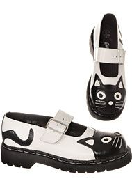 Shoes - Creeping Cat Mary Jane Shoes in White by Anarchic by T.U.K. Shoes Shoes
