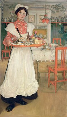 Martina carrying breakfast on a tray by Carl Larsson