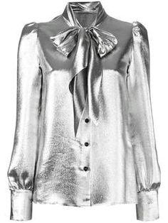 metallic pussybow blouse