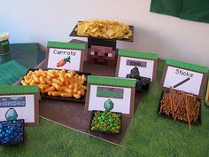 Guests fueled up with an assortment of treats, all of which were given a Minecraft-themed label.  Source: Catch My Party user Idify I Do It For You M