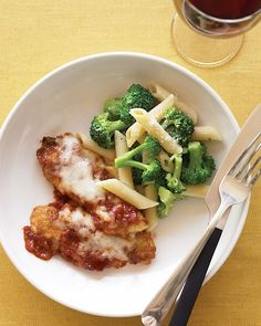 Chicken Tenders Parmesan with Penne and Broccoli