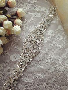 rhinestone bridal applique,bridal applique, wedding sash belts, crystal beaded sash, wedding accessories,beaded rhinestone applique