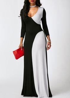 V Neck Color Block Long Sleeve Maxi Dress on sale only US$33.00 now, buy cheap V Neck Color Block Long Sleeve Maxi Dress at liligal.com