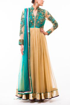 TEAL GREEN - GOLD FLAIRED ANARKALI
