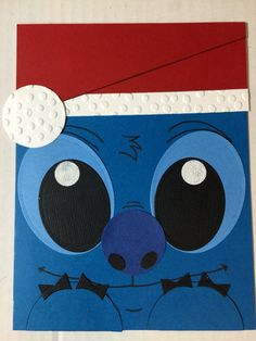 Lilo & Stitch punch art christmas handmade card by Angelica Rosa