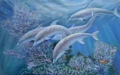 Painting - Happy Family - Dolphins Are Awesome by Svitozar Nenyuk , Cool Paintings, Original Paintings, Original Art, Oil On Canvas, Canvas Art, Canvas Prints, Dolphin Painting, Dolphin Art, Realism Art