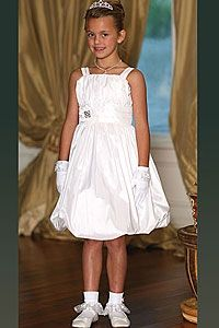 Flower Girl Dresses - Flower Girl Dress Style 9200- Taffeta Bubble Dress with Matching Jacket with Floral Detailing