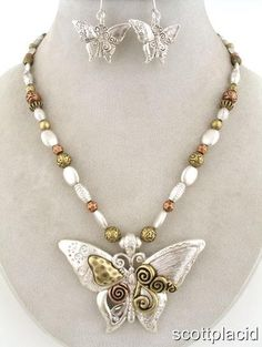 "CHUNKY 2"" WIDE BUTTERFLY MULTI TONE NECKLACE SET    * If you need a necklace extender I have them for sale in my store.*         NECKLACE: 16"" L + 3"" EXT     CHARM: 2"" WIDE      HOOK EARRINGS           COLOR: MULTI TONE  $20.99"