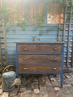 Vintage Hand Painted Chest Of Drawers Blue Industrial DELIVERY AVAILABLE  | eBay