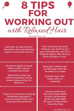 Tired of choosing between your hair or the gym? You can now have both. Here are 8 tips for maintaining relaxed hair while working out. relaxedthairapy.com