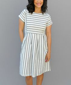Look what I found on #zulily! Blue & White Stripe Chambray Fit & Flare Dress #zulilyfinds