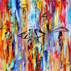Original oil painting Abstract Rain on canvas by Karensfineart
