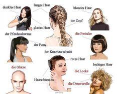 hair Source by carlakeeleramos Deutsch Language, Sms Language, German Grammar, German Words, Adjectives For Kids, German Resources, Study German, Moving To Germany, Germany Language