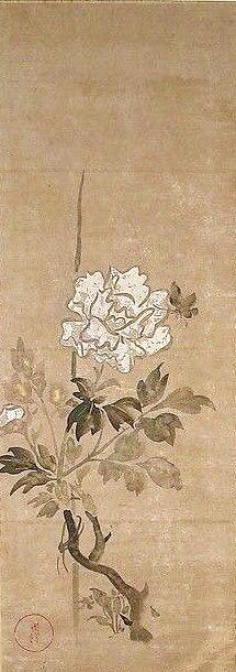 Flowers. Artist:Ogata Kōrin (Japanese, 1658–1716). Japanese hanging scroll. Edo period (1615–1868). 19th century