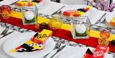 Tischdeko Fußball Schwarz / Rot / Gold