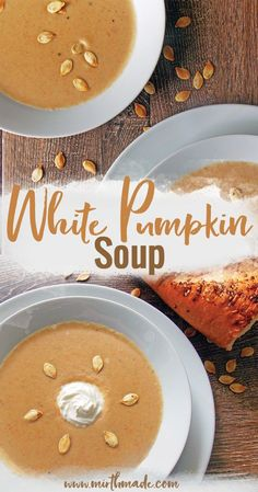 White Pumpkin Soup - perfect pumpkin soup with white pumpkin spices and cream for a perfectly spiced autumn soup. Topped with toasted pumpkin seeds and sour cream it makes an amazing soup for pumpkin season. #pumpkin #pumpkinsoup #fall #autumn #soup #recipe