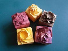 Origami Twisted Paper box tutorial More Box Origami, Origami Wedding, Origami And Kirigami, Origami Ball, Origami Paper Art, Origami Bookmark, Origami Stars, Origami Flowers, Oragami