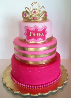 Pink and Gold Princess cake via Craftsy