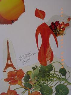 """Paris, midi Tu es comme Mademoiselle Capucine Héroïne florale et acidulée de la chanson de mon enfance parigote. Paris, midi Eblouis-moi toujours ! eMmA © eMmAcollages Paris XIème, mars 2013, N°197 """"Paris, midi"""" """"Noon in Paris"""" (collection """"De l'épure"""")..."""