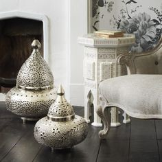 Morrocan style floor lights.  Really good for Christmas too.