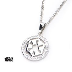 Women's Stainless Steel Star Wars Galactic Empire Cut Out Symbol with Clear Gem Small #Pendant with Chain.  #disney #starwars #jewelry #necklace #imperial #darkside
