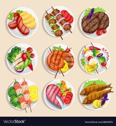 Buy Grilled Food Set by macrovector on GraphicRiver. Grilled food set fish and meat dishes with vegetables on the plate vector illustration. Editable EPS and Render in JP. Food Clipart, Cute Food Art, Fish And Meat, Food Icons, Food Drawing, Food Illustrations, Food Design, Grilling Recipes, Food Dishes