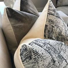 Fabric selection for the decorative cushions from the previous post. Using - bmdesignlondon Upholstery Cushions, Cushion Fabric, Scatter Cushions, Pillow Cover Design, Pillow Covers, Interior Accessories, Interior Styling, Interior Design, Floors And More