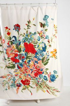 Romantic Floral Scarf Shower Curtain stretched on frame, like a canvas for a large piece of artwork.