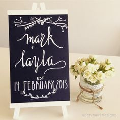Chalk board sign Modern Calligraphy Wedding Calligraphy