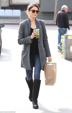 Weekend warrior: Nikki Reed looked comfortable and chic in her knee-high boots and grey blazer as she ran a few errands at Earth Bar in West Hollywood on Sunday