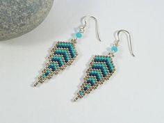 Feather Earrings Turquoise Blue Sterling Silver Fairy