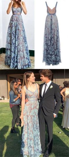 Blue Lace Prom Dress, Spaghetti Straps Long Prom Dress, A-line Backless Prom Dress