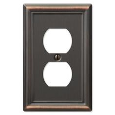 Hampton Bay, Chelsea 1 Duplex Outlet Plate - Aged Bronze, 149DDBHB at The Home Depot