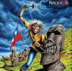 Iron Maiden - Eddie in Chile Hard Rock, Heavy Metal Music, Heavy Metal Bands, Woodstock, Iron Maiden Cover, Arte Pink Floyd, Rock And Roll, Iron Maiden Mascot, Iron Maiden Posters