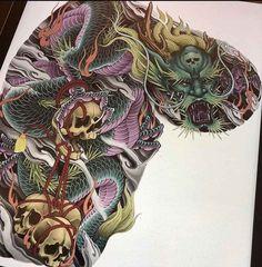 Dragon Tattoo Colour, Color Tattoo, Irezumi Tattoos, Skull Tattoos, Japanese Snake Tattoo, C Tattoo, Full Back Tattoos, Traditional Japanese Tattoos, Asian Tattoos