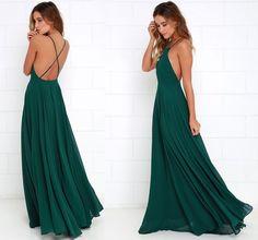 Hunt Green Prom Dress,Backless Chiffon Prom Dress,Custom Made Evening Dress,Sexy prom dress,