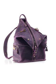 leather handmade backpack bag shoulder bag purse plum color