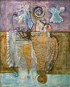 Mark Rothko, Hierarchical Birds, 1944. In the early '40s, Rothko rejected realism and began a series of abstract works meant to evoke classical myth hat were based on Greek mythology and also influenced by the writings of Nietsche. In paintings such as Hierarchical Birds (1944), the messy profusion of feathers and tails and eyes is meant to convey the tangle of the psyche, while the three layers of color in the background might correspond to Freud's tripartite division of superego, ego, and…