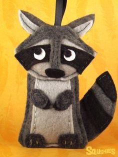 Woodland Ornament Felt Raccoon Felt Animal Holiday door Squshies