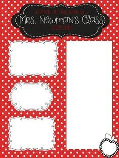 Red Polka Dot Newsletter Template - Editable: Apple & Chalkboard theme classroom newsletter