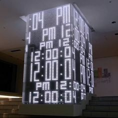 "Video of 'Hikari No Tokei' gate designed by Hiroshi Yoneya. An animated LED ""Light Clock"" in Ikebukuro, Tokyo. Design Display, Store Design, Wayfinding Signage, Signage Design, Led, Wc Sign, Column Design, New Media Art, Environmental Graphic Design"