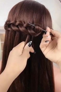 Formal Hairstyles For Long Hair, Braids For Long Hair, Cute Hairstyles, Braided Hairstyles, Wedding Hairstyles, Pixie Hairstyles, Hairstyles For Girls Easy, Hairstyles For Weddings Bridesmaid, Ladies Hairstyles