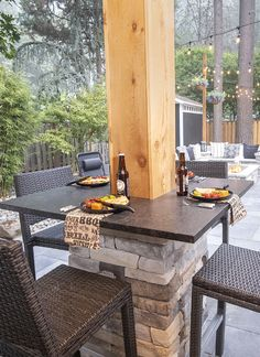 Use your Structure Post & Build a Bar Table - Watch the quick video to see it come to life . . . Outdoor Bar Table, Patio Bar, Backyard Patio, A Table, Outdoor Decor, Outdoor Kitchens, Outdoor Spaces, Outdoor Living, Patio Ideas