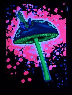 """PSYWORK Schwarzlicht Stoffposter Neon """"Crystal Mushroom Dream""""   #psy #psywork #poster #blacklight #schwarzlicht #mushroom #neon #glow #party #deko"""