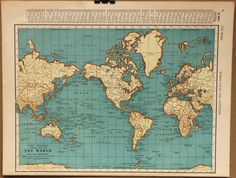 Vintage Map World Globe Earth Original 1935 by PastOnPaper