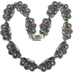 Vintage Taxco Mexico Sterling Silver Link Necklace Turquoise Coral Signed TM-149