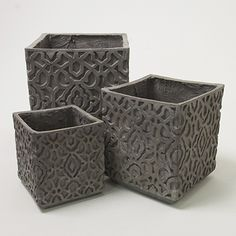 Square Etched Planter