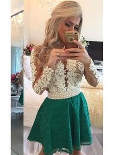 Short Homecoming Dress with pearl with long sleeves,custom made,color free,fast delivery
