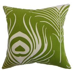 Cotton pillow with a peacock motif and a feather-down insert.  Product: PillowConstruction Material: Cotton and ...